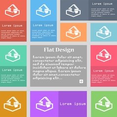 Upload icon sign Set of multicolored buttons with vector image vector image