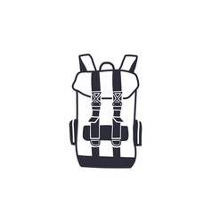 vintage hand drawn backpack shape in monochrome vector image vector image