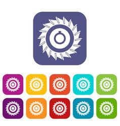Circular saw disk icons set flat vector