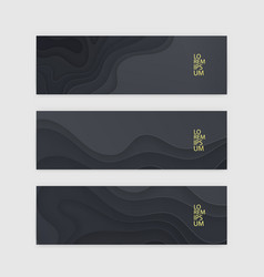 horizontal banner set template with dark paper vector image vector image
