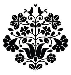 Kalocsai black embroidery - Hungarian floral folk vector image vector image