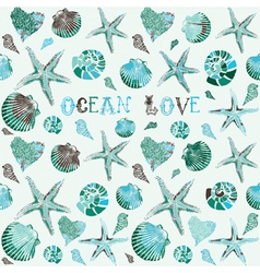Seashells Ocean Love Background vector image