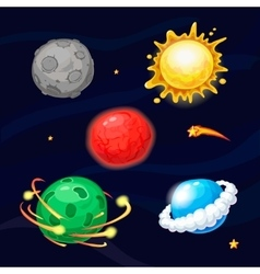 Set of cartoon fantastic planets vector image vector image