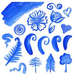 set of watercolor elements vector image