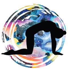 women silhouette cat yoga pose marjaryasana vector image
