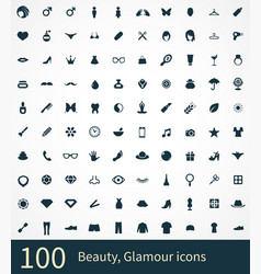 100 beauty glamour icons vector image