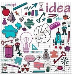 doodle set of icons symbol idea vector image vector image