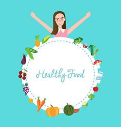 healthy food fruit vegetables girl celebrating vector image
