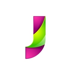 J letter green and pink logo design template vector image vector image