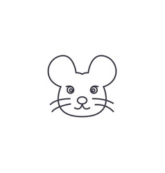 mouse head line icon sign on vector image vector image