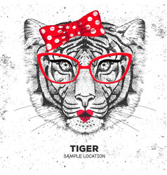Retro hipster animal tiger hand drawing muzzle vector