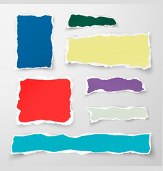 set of color torn paper pieses scrap paper vector image vector image