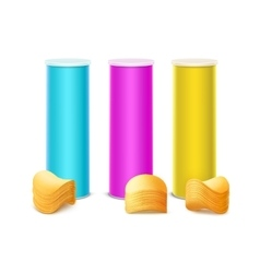 Set of Colored Tin Box with Stack Potato Chips vector image vector image