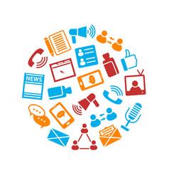 social media round design template vector image