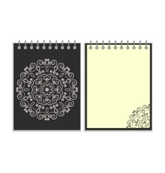 Black cover notebook with round floral pattern vector image vector image
