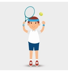 cartoon man player tennis racket ball vector image vector image