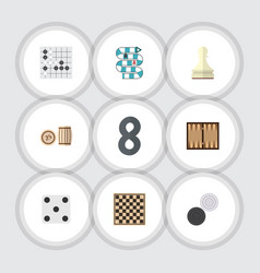 flat icon play set of chequer pawn chess table vector image vector image