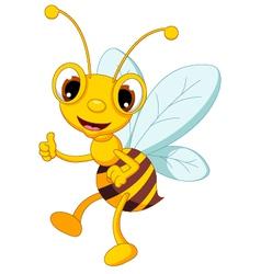 funny bee cartoon thumb up vector image