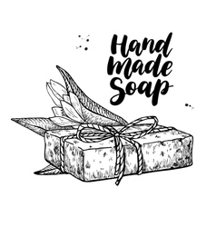 Handmade natural soap hand drawn cosmetic vector image vector image