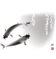 Koi carps and willow vector image
