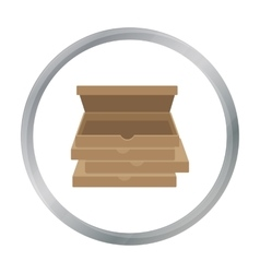 Pizza boxes icon in cartoon style isolated on vector image