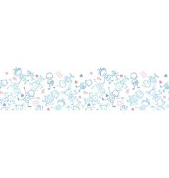 Playing children horizontal seamless pattern vector image