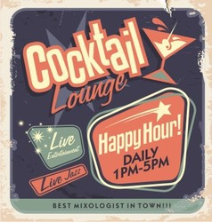 Retro poster design for cocktail lounge vector image vector image