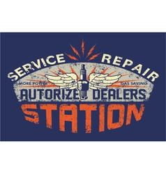 Service station vintage sign board vector