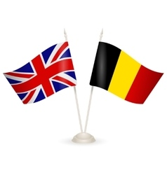 Table stand with flags of England and Belgium vector image