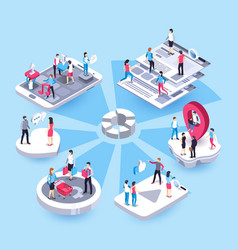 3d isometric marketing people social media market vector image