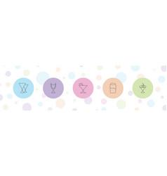 5 martini icons vector
