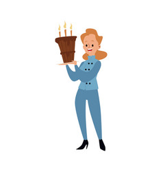 a female baker in uniform is standing and holding vector image
