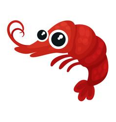adorable red shrimp with big shiny eyes small vector image