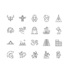 ancient civilization line icons signs set vector image