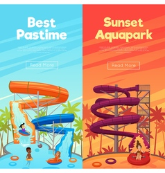 Aquapark Vertical Banners vector