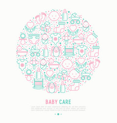 Baby care concept in circle with thin line icons vector