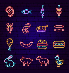 barbecue neon icons vector image