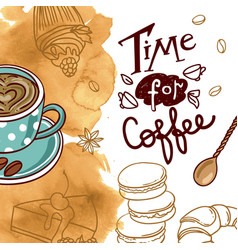 beautiful hand drawn coffee vector image
