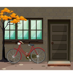 Bicycle parking outside the building vector