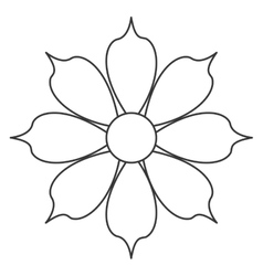 black line flower icon vector image