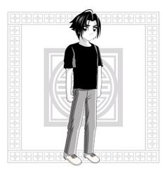 Boy anime male manga cartoon icon graphic vector image