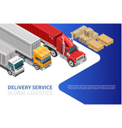 Bright web design for global logistics vector