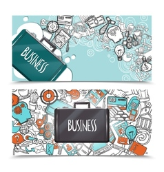Business doodle banner set vector