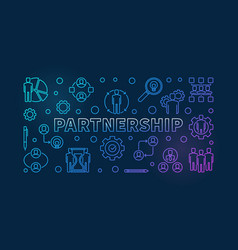 business partnership colored outline vector image