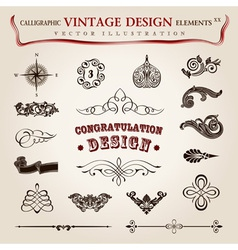 calligraphic vintage elements vector image