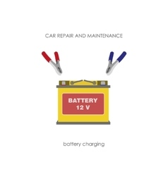 Car battery with terminals on a white background vector
