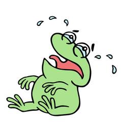 Cartoon crying green frogling vector