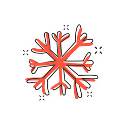 Cartoon hand drawn snowflake icon in comic style vector