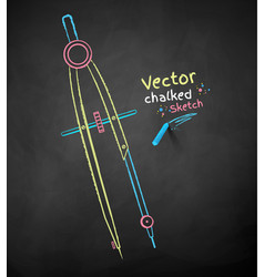chalk drawn divider compass vector image