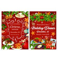 Christmas holiday festive dinner invitation card vector